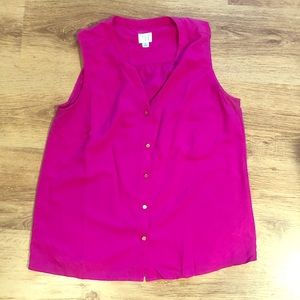 Pink button up tank top